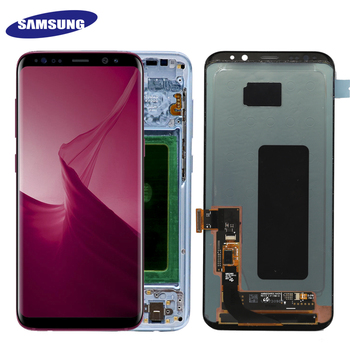 Super AMOLED Pentru Samsung Galaxy S8 S8 plus G955f G950F G950U G950FD Burn-in Umbra Display Lcd Touch Screen Digitizer Cu Cadru
