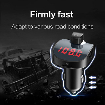 LCD Display Handsfree de asteptare Auto Mp3 Player, Bluetooth V4.2 Car Kit Dual USB Încărcător rapid FM Transmițător Wireless adaptor audio