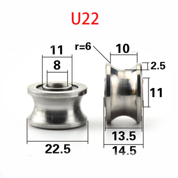 5pcs/lot CNC TU22 8mm V / U pulley groove rulmenți T22 8*22.5*14.5*13.5 mm V groove roată role rulmenti T-U-22