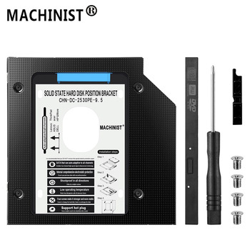 MAȘINIST 9.5 mm HDD caddy aluminiu optibay SATA3.0 Unitate de Hard Disk cabina de DVD-adaptor 2.5