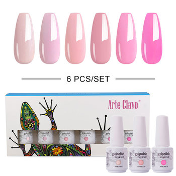 Arte Clavo 6PCS/Set 8 ml Gel Colorate Unghii Set De LED-uri UV Gel Polish Set Soak Off Gel Varnsih de Bază de Top Coat Pentru Unghii
