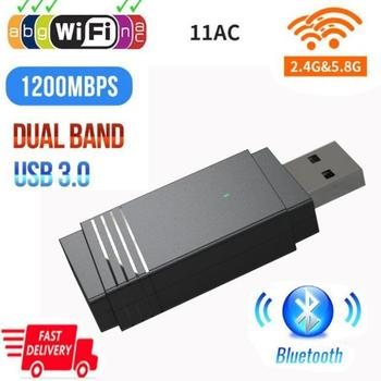 Wireless USB Adaptor WiFi 1200Mbps USB 3.0 Dual Band Bluetooth 5.0 Built-in Antenă Wifi Dongle Wireless Bluetooth Transmițător