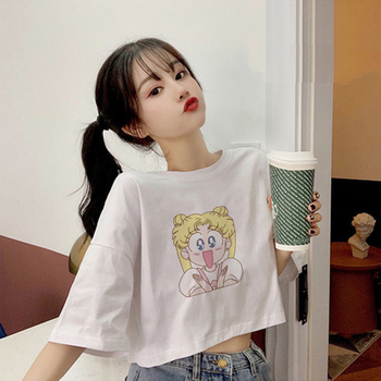 Harajuku Sailor Moon Liber tricou Drăguț Crop Top Streetwear Femei Albe tricou Trunchiate Tricouri Casual Top Tee de sex Feminin
