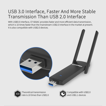 COMFAST USB WiFi Adaptor 1200Mbps 2.4 GHz 5.8 GHz Dual LAN Wireless placa de Retea USB 3.0 Wi-Fi Dongle-Receptor
