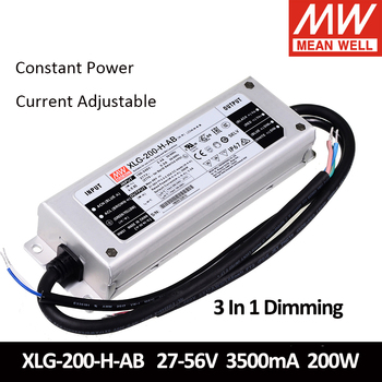 Taiwan MEAN WELL Xlg-Seria 200 200W Putere Constantă de Alimentare 12V 24V 700mA 3500mA 3 IN 1 Reglaj IP67 Led Driver Cu PFC